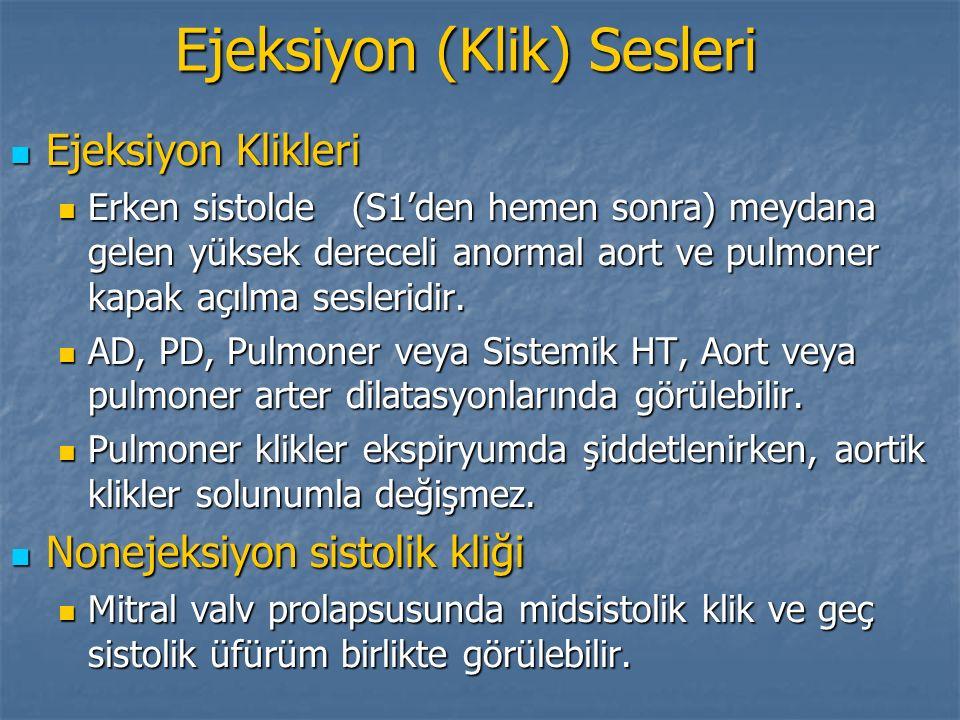 Ejeksiyon (Klik) Sesleri Ejeksiyon Klikleri Ejeksiyon Klikleri Erken sistolde (S1'den hemen sonra) meydana gelen yüksek dereceli anormal aort ve pulmo