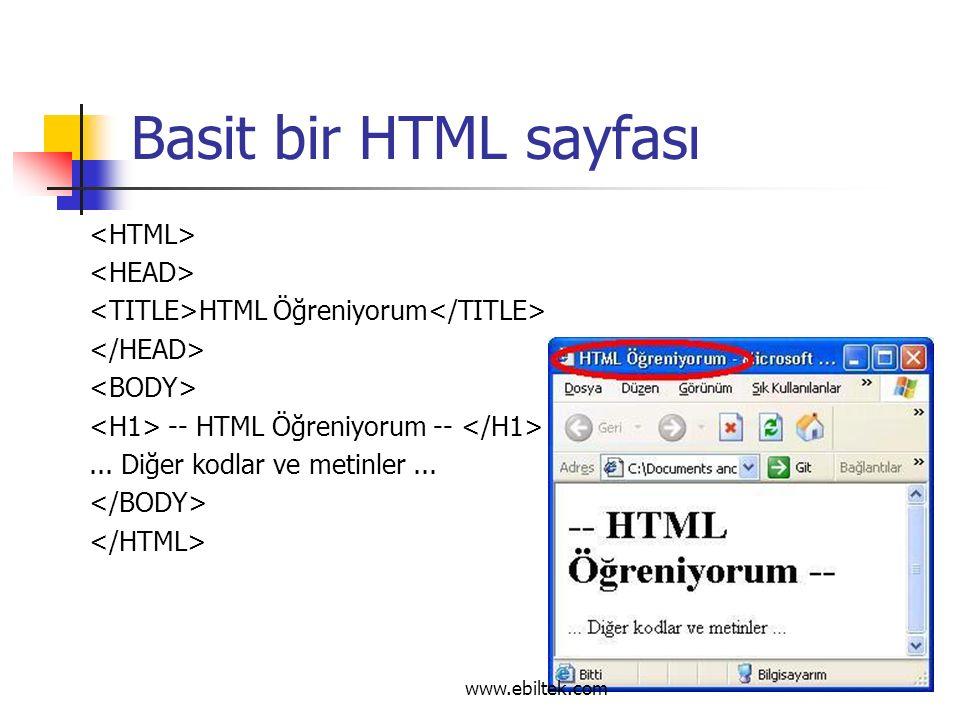 Basit bir HTML sayfası HTML Öğreniyorum -- HTML Öğreniyorum --...