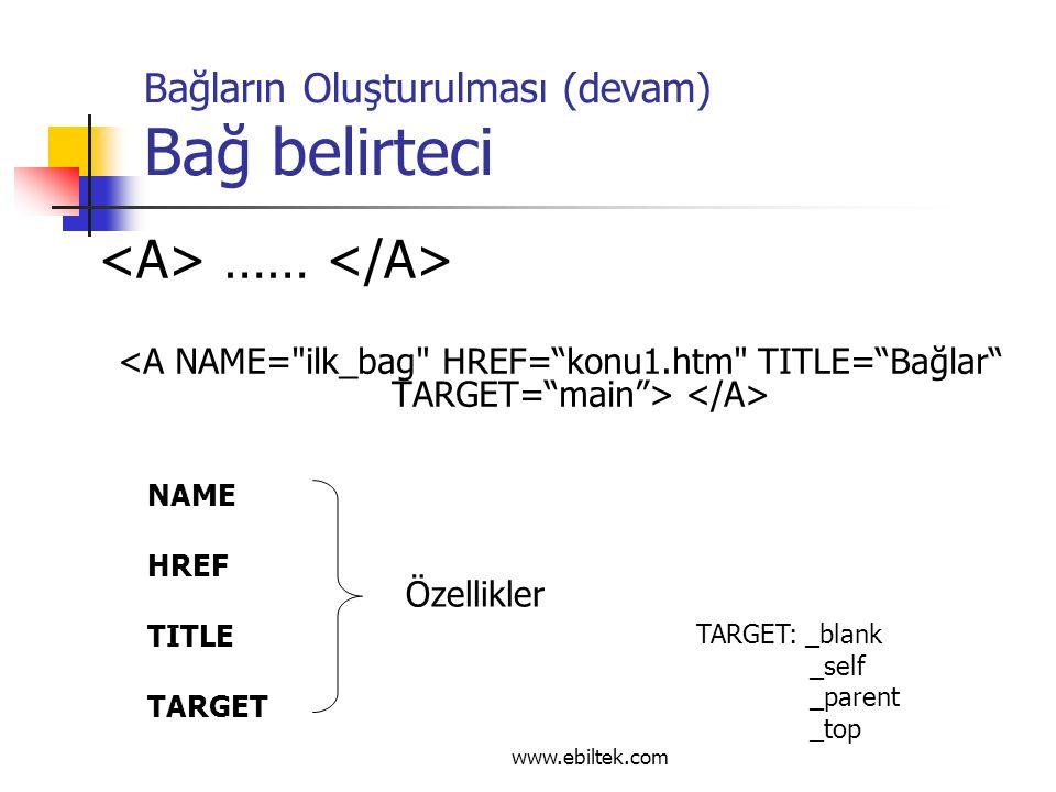 Bağların Oluşturulması (devam) Bağ belirteci …… NAME HREF TITLE TARGET Özellikler TARGET: _blank _self _parent _top www.ebiltek.com