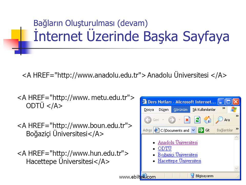 Bağların Oluşturulması (devam) İnternet Üzerinde Başka Sayfaya ODTÜ Boğaziçi Üniversitesi Hacettepe Üniversitesi Anadolu Üniversitesi www.ebiltek.com