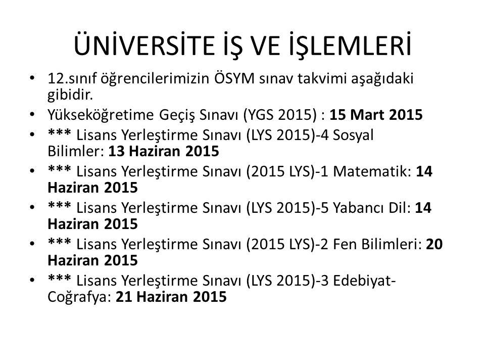 ÜNİVERSİTE İŞ VE İŞLEMLERİ 12.sınıf öğrencilerimizin ÖSYM sınav takvimi aşağıdaki gibidir. Yükseköğretime Geçiş Sınavı (YGS 2015) : 15 Mart 2015 *** L