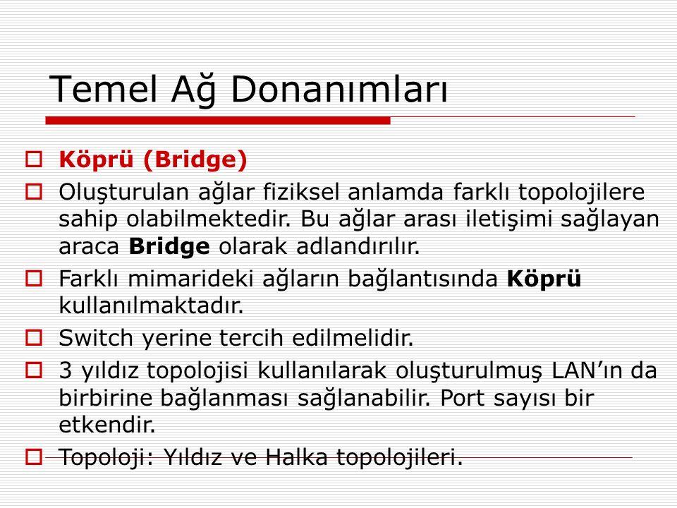 Temel Ağ Donanımları  Köprü (Bridge)  Oluşturulan ağlar fiziksel anlamda farklı topolojilere sahip olabilmektedir. Bu ağlar arası iletişimi sağlayan