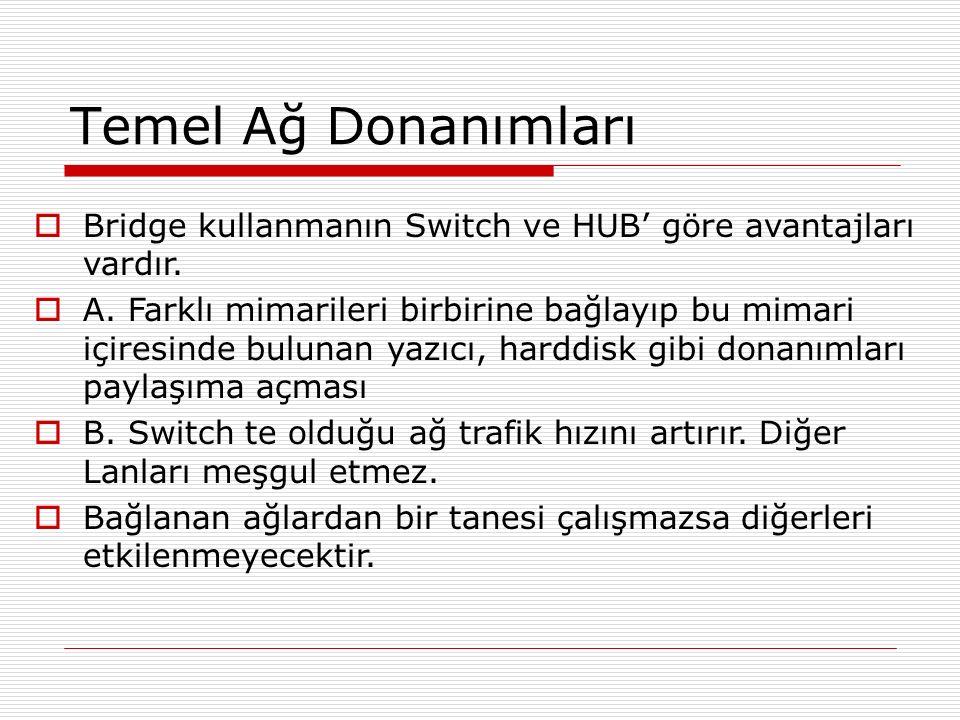 Temel Ağ Donanımları  Bridge kullanmanın Switch ve HUB' göre avantajları vardır.  A. Farklı mimarileri birbirine bağlayıp bu mimari içiresinde bulun