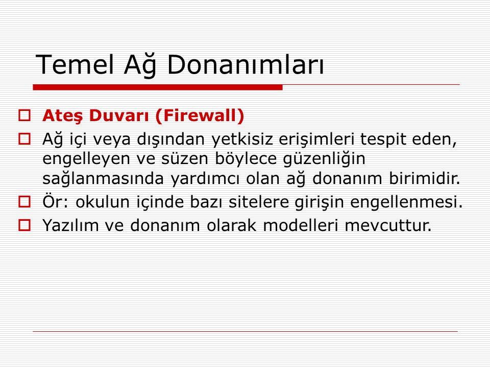 Temel Ağ Donanımları  Ateş Duvarı (Firewall)  Ağ içi veya dışından yetkisiz erişimleri tespit eden, engelleyen ve süzen böylece güzenliğin sağlanmas