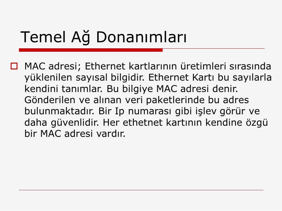 Temel Ağ Donanımları  MAC adresi; Ethernet kartlarının üretimleri sırasında yüklenilen sayısal bilgidir. Ethernet Kartı bu sayılarla kendini tanımlar