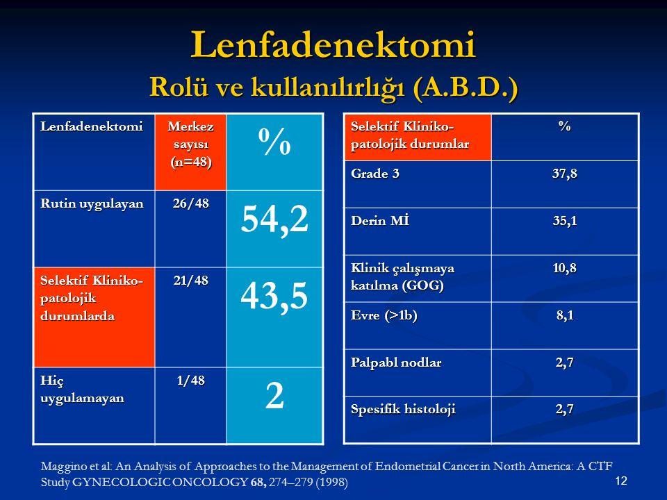 12 Lenfadenektomi Rolü ve kullanılırlığı (A.B.D.) Lenfadenektomi Merkez sayısı (n=48) % Rutin uygulayan 26/48 54,2 Selektif Kliniko- patolojik durumla