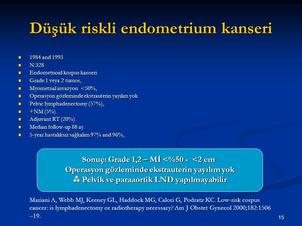 15 Düşük riskli endometrium kanseri 1984 and 1993 1984 and 1993 N:328 N:328 Endometrioid korpus kanseri Endometrioid korpus kanseri Grade 1 veya 2 tum