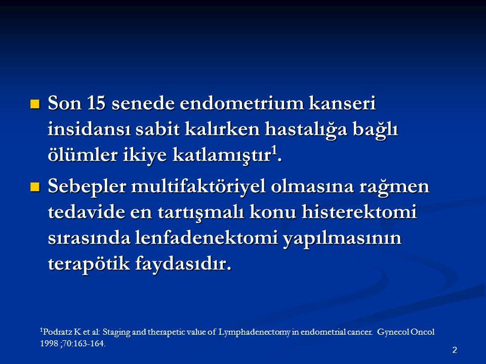 2 Son 15 senede endometrium kanseri insidansı sabit kalırken hastalığa bağlı ölümler ikiye katlamıştır 1. Son 15 senede endometrium kanseri insidansı