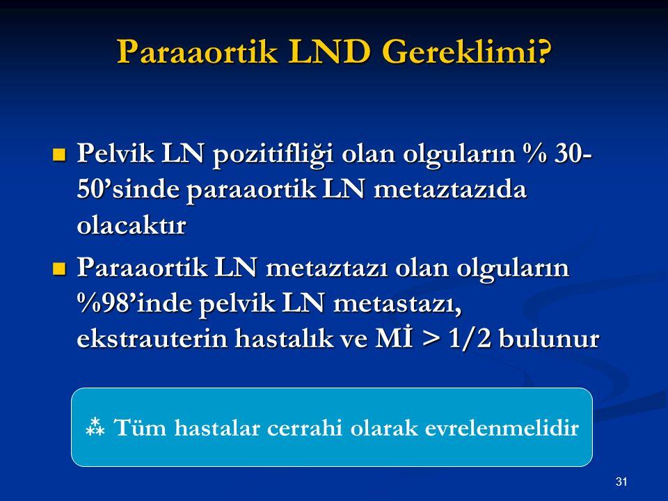 31 Paraaortik LND Gereklimi? Pelvik LN pozitifliği olan olguların % 30- 50'sinde paraaortik LN metaztazıda olacaktır Pelvik LN pozitifliği olan olgula
