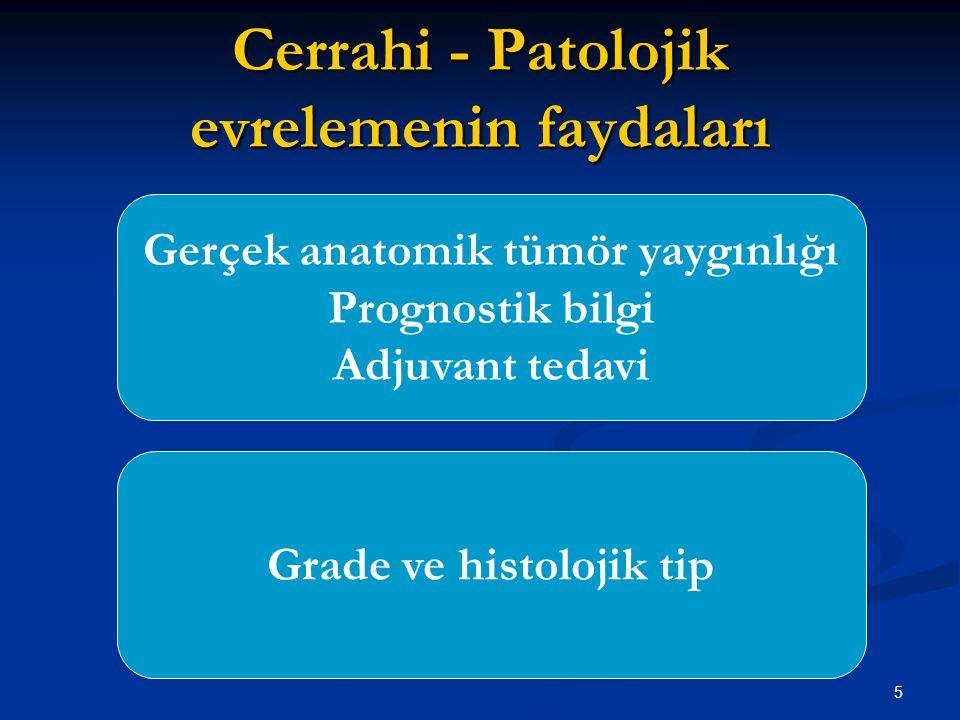 5 Cerrahi - Patolojik evrelemenin faydaları Gerçek anatomik tümör yaygınlığı Prognostik bilgi Adjuvant tedavi Grade ve histolojik tip
