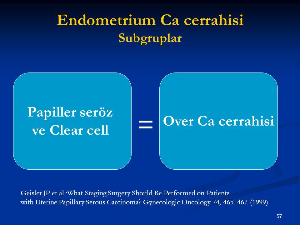 57 Endometrium Ca cerrahisi Subgruplar Papiller seröz ve Clear cell Over Ca cerrahisi = Geisler JP et al :What Staging Surgery Should Be Performed on
