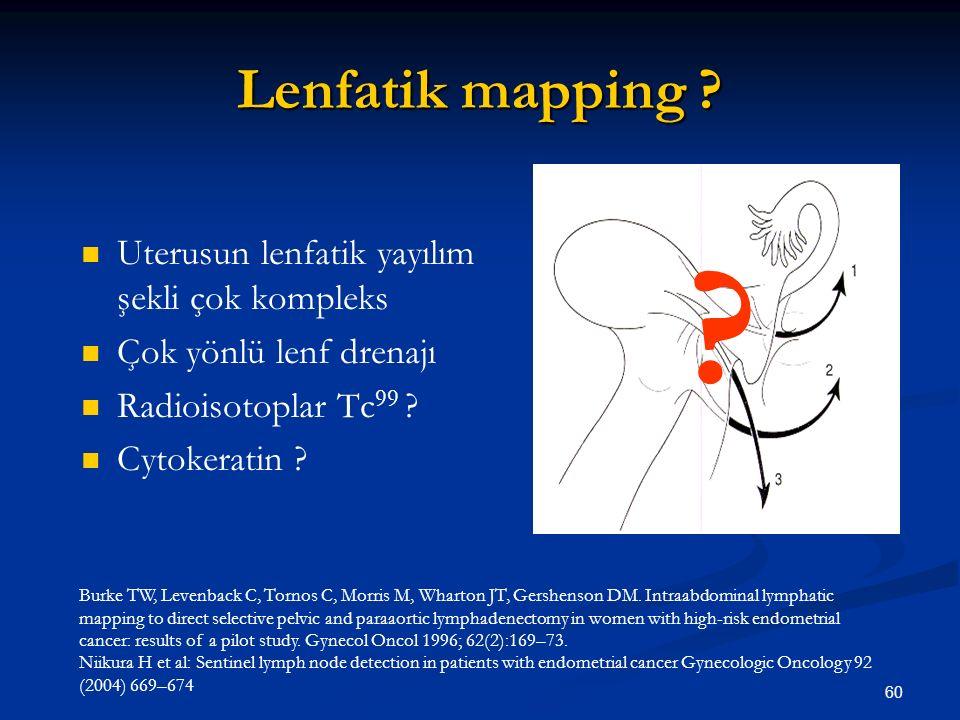 60 Lenfatik mapping ? Uterusun lenfatik yayılım şekli çok kompleks Çok yönlü lenf drenajı Radioisotoplar Tc 99 ? Cytokeratin ? Burke TW, Levenback C,