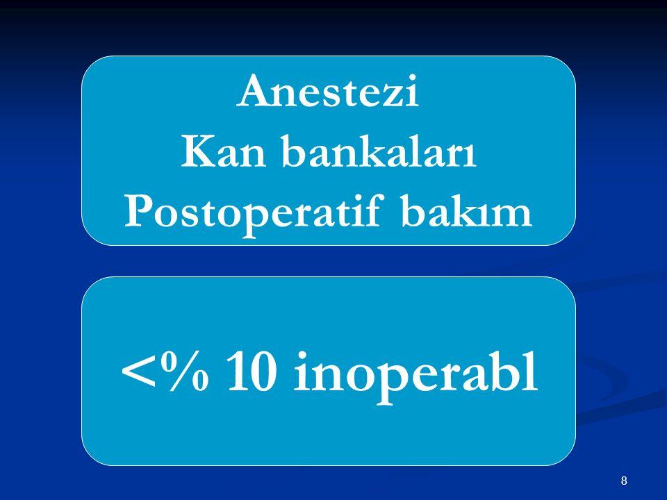 8 <% 10 inoperabl Anestezi Kan bankaları Postoperatif bakım