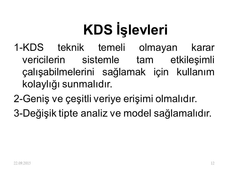 KDS İşlevleri 1-KDS teknik temeli olmayan karar vericilerin sistemle tam etkileşimli çalışabilmelerini sağlamak için kullanım kolaylığı sunmalıdır. 2-