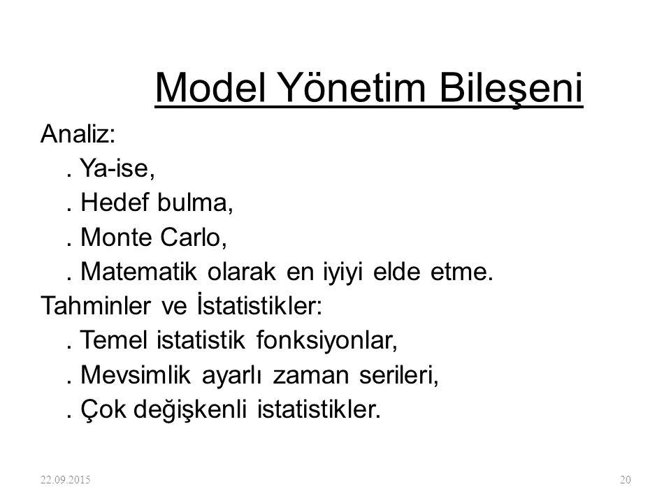 Model Yönetim Bileşeni Analiz:. Ya-ise,. Hedef bulma,. Monte Carlo,. Matematik olarak en iyiyi elde etme. Tahminler ve İstatistikler:. Temel istatisti