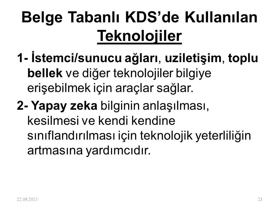 Belge Tabanlı KDS'de Kullanılan Teknolojiler 1- İstemci/sunucu ağları, uziletişim, toplu bellek ve diğer teknolojiler bilgiye erişebilmek için araçlar