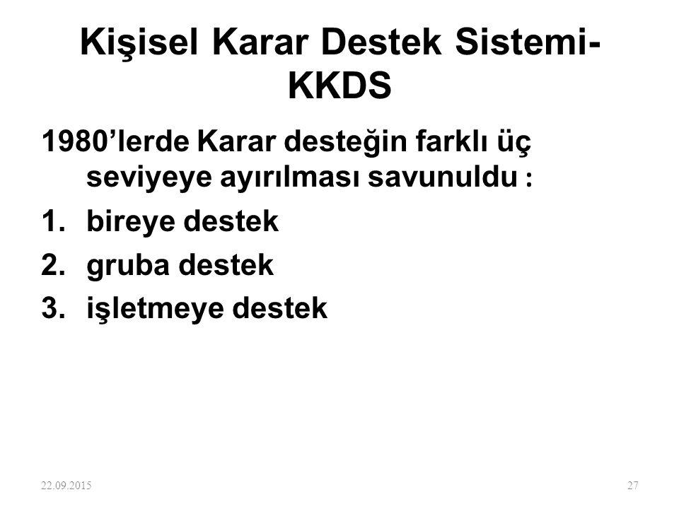 Kişisel Karar Destek Sistemi- KKDS 1980'lerde Karar desteğin farklı üç seviyeye ayırılması savunuldu : 1.bireye destek 2.gruba destek 3.işletmeye dest