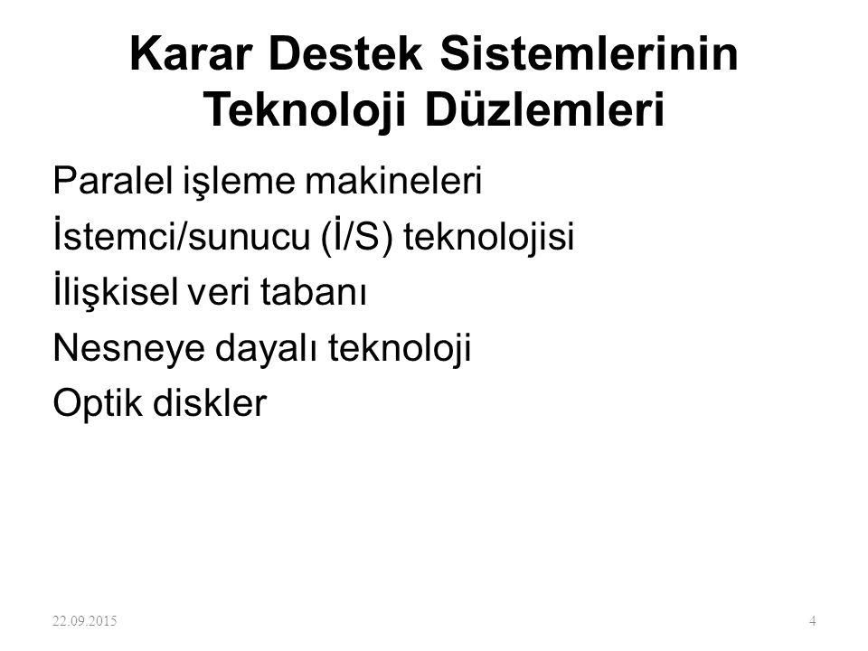 Karar Destek Sistemlerinin Teknoloji Düzlemleri Paralel işleme makineleri İstemci/sunucu (İ/S) teknolojisi İlişkisel veri tabanı Nesneye dayalı teknol
