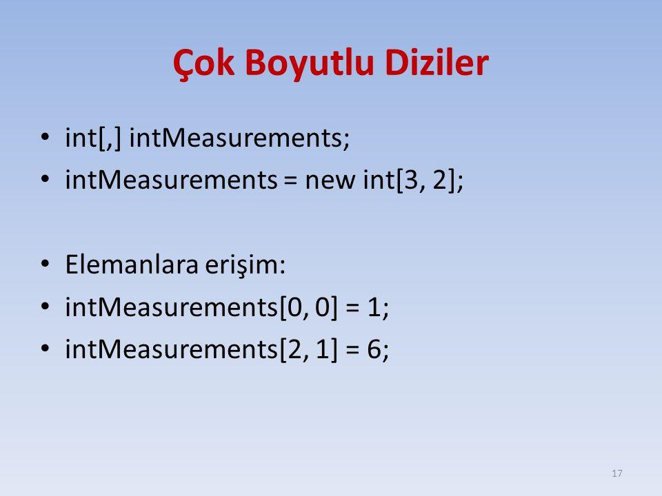 Çok Boyutlu Diziler int[,] intMeasurements; intMeasurements = new int[3, 2]; Elemanlara erişim: intMeasurements[0, 0] = 1; intMeasurements[2, 1] = 6;