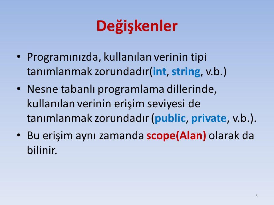 Değişkenleri tanımlamak Veritipi değişken_ismi = başlangıç_değeri; – int a; – string str = BTP206 ; – double m = 10, n = 20; – long k, l = 100; Visual C# katı yazım kuralları olan bir programlama dilidir.; Bu yüzden, kullanılan değişkenlerin veri tipi mutlaka tanımlanmalıdır.