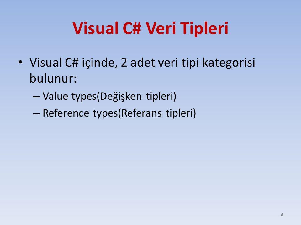 Visual C# Veri Tipleri Visual C# içinde, 2 adet veri tipi kategorisi bulunur: – Value types(Değişken tipleri) – Reference types(Referans tipleri) 4