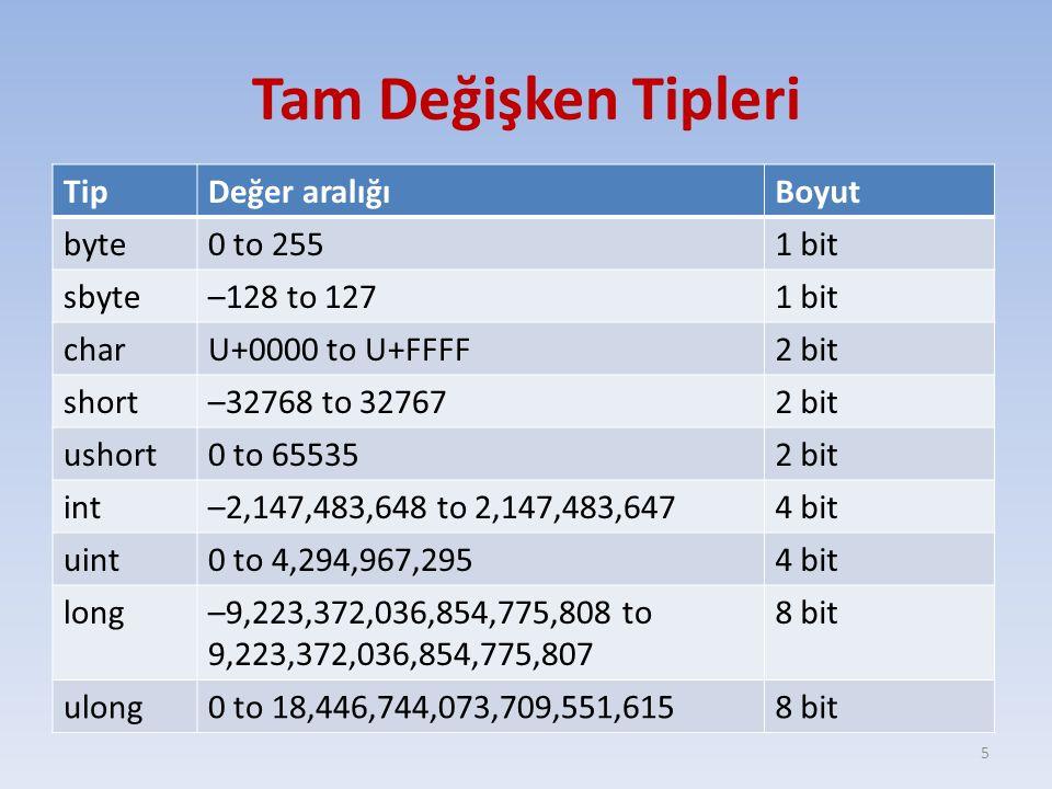 Ondalıklı Değişken Tipleri TipDeğer aralığıHassaslıkBoyut float±1.5 × 10− 45 to ±3.4 × 10 38 7 digits32 bit double±5.0 × 10− 324 to ±1.7 × 10 308 15-16 digits64 bit decimal±1.0 × 10− 28 to ±7.9 × 10 28 28-29 digits128 bit 6 * Decimal değişken tipi para birimi olarak kullanılır.