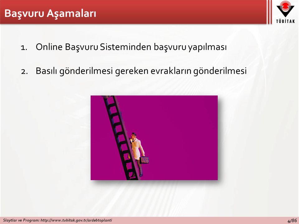 Başvuru Aşamaları 1.Online Başvuru Sisteminden başvuru yapılması 2.Basılı gönderilmesi gereken evrakların gönderilmesi Slaytlar ve Program: http://www.tubitak.gov.tr/ardebtoplanti 4/86