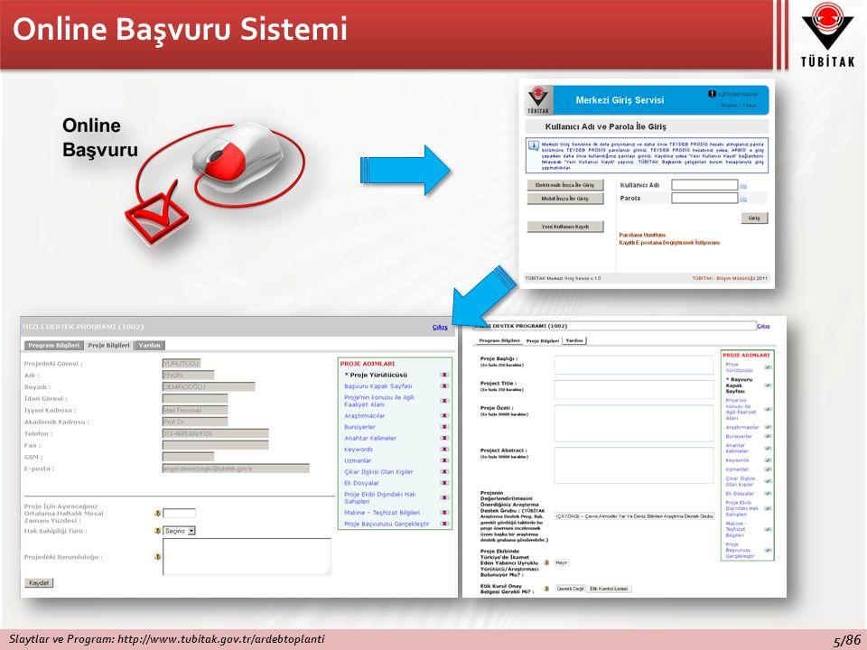 Online Başvuru Sistemi Slaytlar ve Program: http://www.tubitak.gov.tr/ardebtoplanti 5/86