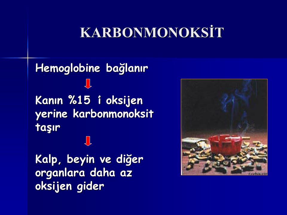 KARBONMONOKSİT Hemoglobine bağlanır Kanın %15 'i oksijen yerine karbonmonoksit taşır Kalp, beyin ve diğer organlara daha az oksijen gider