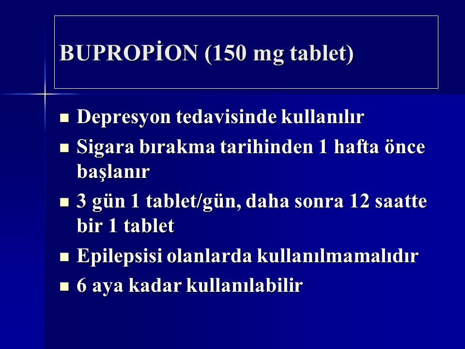 BUPROPİON (150 mg tablet) Depresyon tedavisinde kullanılır Depresyon tedavisinde kullanılır Sigara bırakma tarihinden 1 hafta önce başlanır Sigara bırakma tarihinden 1 hafta önce başlanır 3 gün 1 tablet/gün, daha sonra 12 saatte bir 1 tablet 3 gün 1 tablet/gün, daha sonra 12 saatte bir 1 tablet Epilepsisi olanlarda kullanılmamalıdır Epilepsisi olanlarda kullanılmamalıdır 6 aya kadar kullanılabilir 6 aya kadar kullanılabilir