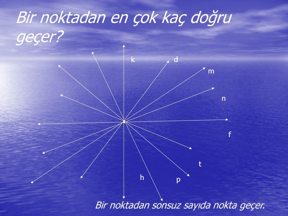 Bir noktadan en çok kaç doğru geçer? Bir noktadan sonsuz sayıda nokta geçer. kd m n f t p h