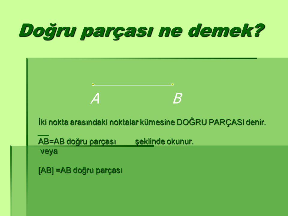 Doğru parçası ne demek? İki nokta arasındaki noktalar kümesine DOĞRU PARÇASI denir. AB=AB doğru parçası şeklinde okunur. veya veya [AB] =AB doğru parç