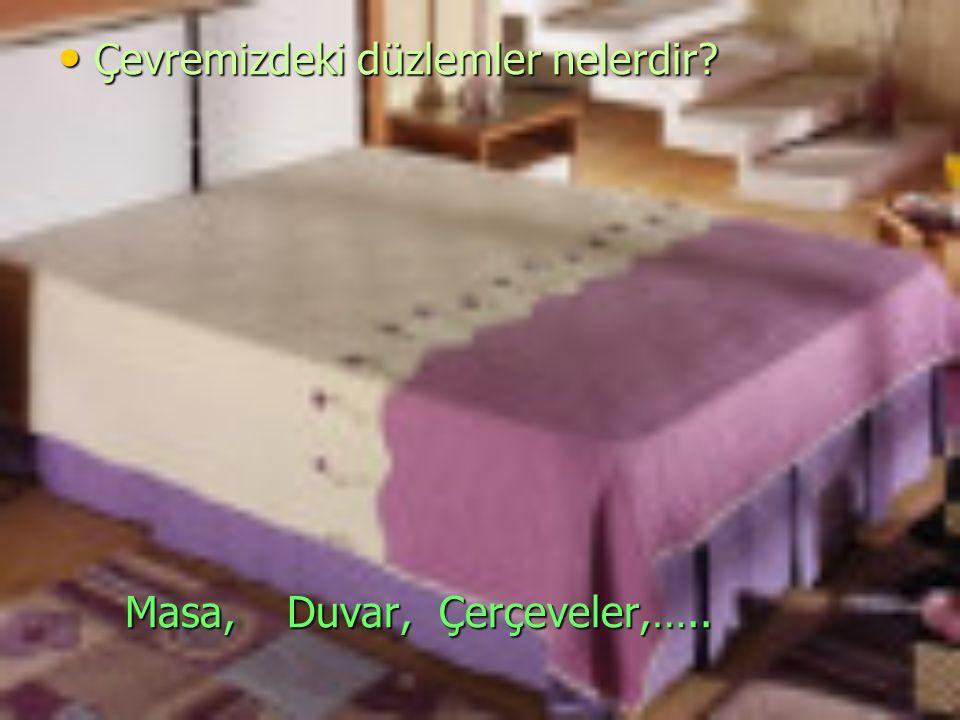 Çevremizdeki düzlemler nelerdir? Çevremizdeki düzlemler nelerdir? Masa, Duvar, Çerçeveler,….. Masa, Duvar, Çerçeveler,…..