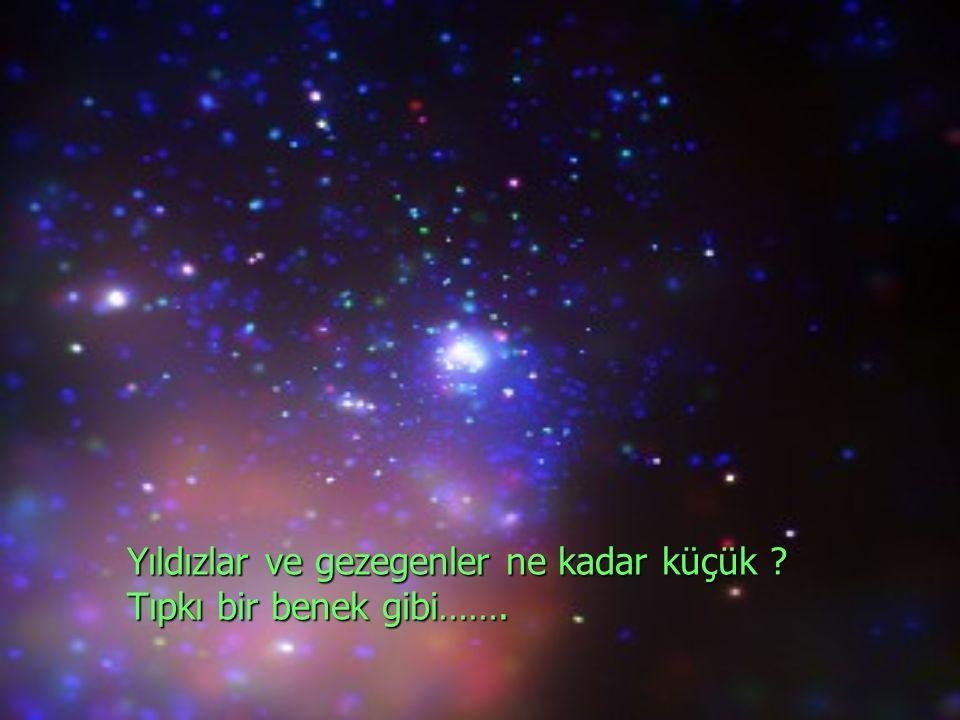 Yıldızlar ve gezegenler ne kadar küçük ? Tıpkı bir benek gibi…….