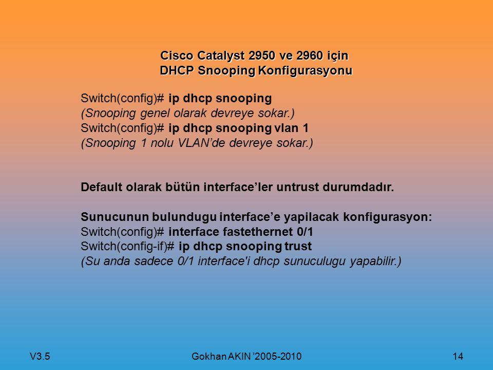 V3.5 Gokhan AKIN '2005-2010 14 Cisco Catalyst 2950 ve 2960 için DHCP Snooping Konfigurasyonu Switch(config)# ip dhcp snooping (Snooping genel olarak devreye sokar.) Switch(config)# ip dhcp snooping vlan 1 (Snooping 1 nolu VLAN'de devreye sokar.) Default olarak bütün interface'ler untrust durumdadır.