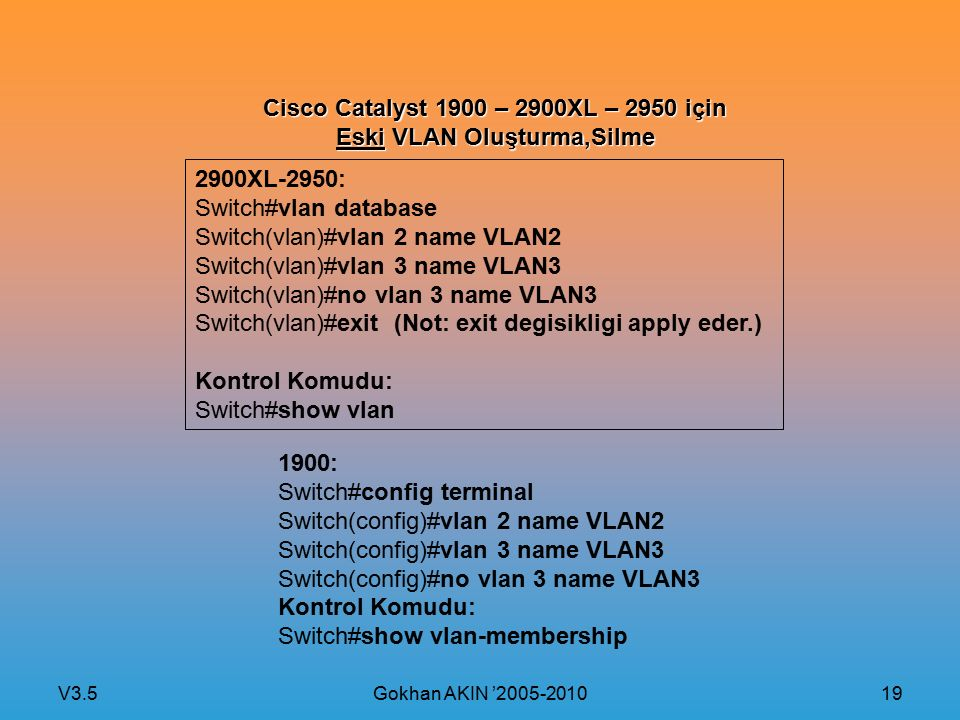 V3.5 Gokhan AKIN '2005-2010 19 Cisco Catalyst 1900 – 2900XL – 2950 için Eski VLAN Oluşturma,Silme 2900XL-2950: Switch#vlan database Switch(vlan)#vlan 2 name VLAN2 Switch(vlan)#vlan 3 name VLAN3 Switch(vlan)#no vlan 3 name VLAN3 Switch(vlan)#exit (Not: exit degisikligi apply eder.) Kontrol Komudu: Switch#show vlan 1900: Switch#config terminal Switch(config)#vlan 2 name VLAN2 Switch(config)#vlan 3 name VLAN3 Switch(config)#no vlan 3 name VLAN3 Kontrol Komudu: Switch#show vlan-membership