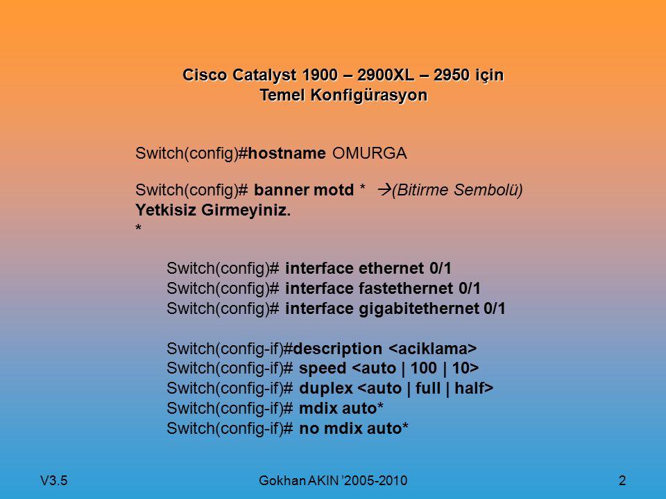 V3.5 Gokhan AKIN '2005-2010 3 Cisco Catalyst 2900XL,2950 ve 2960 için Şifre Atama Switch(config)# line con 0 Switch(config-line)# password (Sifre_consol_icin) Switch(config-line)# login Switch(config)# line vty 0 15 Switch(config-line)# password (Sifre_telnet icin) Switch(config-line)# login Enable Sifresi: Switch(config)# enable secret (güçlü MD5 Kripto koruması) Switch(config)# enable password (Zayif kripto koruması) Şifre Korumasını açmak: Switch(config)# service password-encrytion
