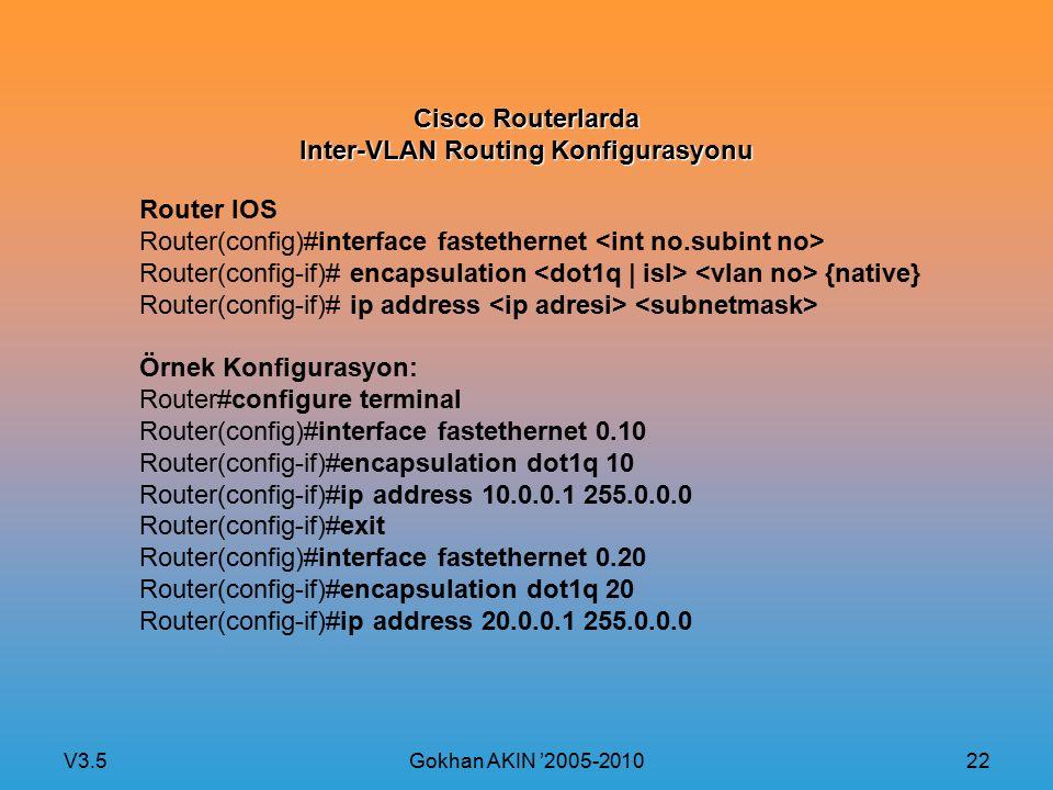 V3.5 Gokhan AKIN '2005-2010 22 Cisco Routerlarda Inter-VLAN Routing Konfigurasyonu Router IOS Router(config)#interface fastethernet Router(config-if)#