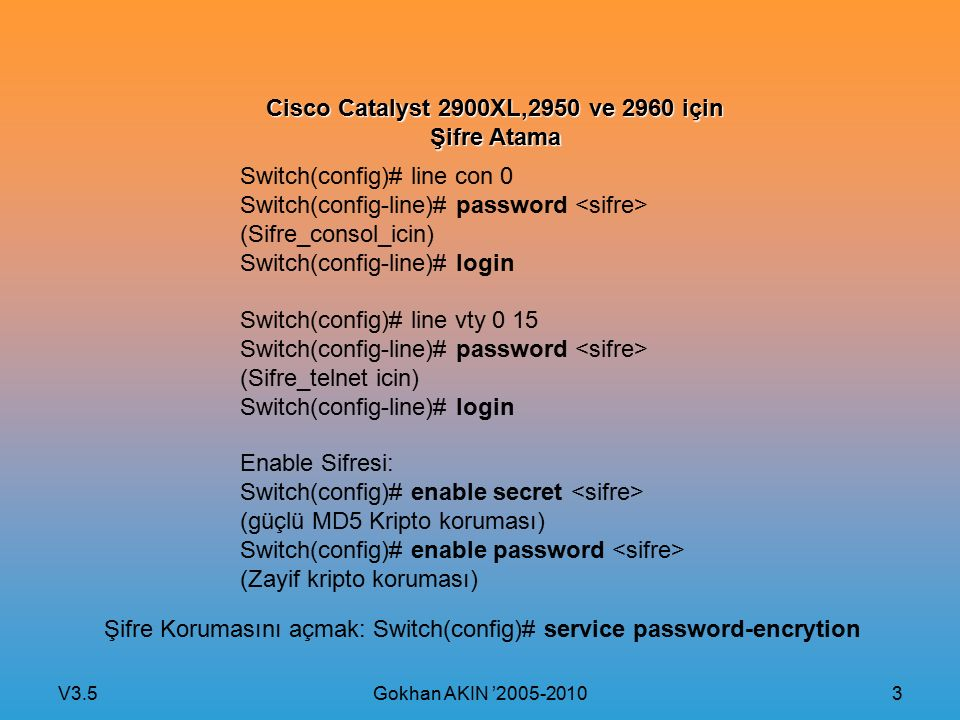V3.5 Gokhan AKIN '2005-2010 3 Cisco Catalyst 2900XL,2950 ve 2960 için Şifre Atama Switch(config)# line con 0 Switch(config-line)# password (Sifre_cons