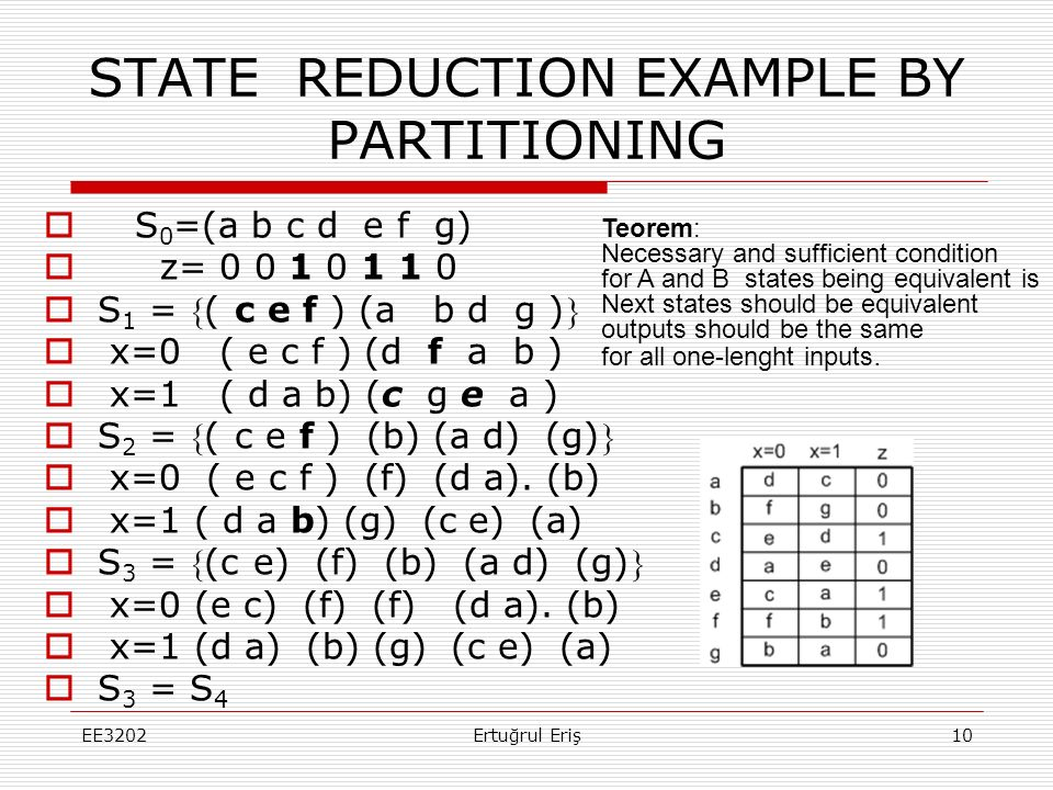 STATE REDUCTION EXAMPLE BY PARTITIONING  S 0 =(a b c d e f g)  z= 0 0 1 0 1 1 0  S 1 = ( c e f ) (a b d g )  x=0 ( e c f ) (d f a b )  x=1 ( d