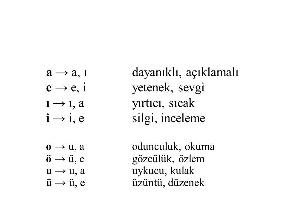 a → a, ıdayanıklı, açıklamalı e → e, iyetenek, sevgi ı → ı, ayırtıcı, sıcak i → i, esilgi, inceleme o → u, aodunculuk, okuma ö → ü, egözcülük, özlem u