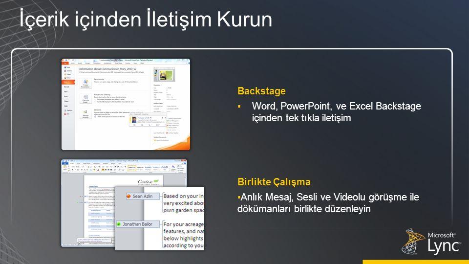 Backstage ▪Word, PowerPoint, ve Excel Backstage içinden tek tıkla iletişim İçerik içinden İletişim Kurun Birlikte Çalışma ▪Anlık Mesaj, Sesli ve Videolu görüşme ile dökümanları birlikte düzenleyin