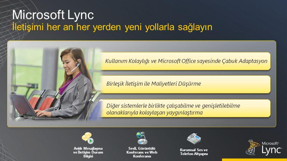 Microsoft Lync İletişimi her an her yerden yeni yollarla sağlayın Diğer sistemlerle birlikte çalışabilme ve genişletilebilme olanaklarıyla kolaylaşan yaygınlaştırma Anlık Mesajlaşma ve İletişim Durum Bilgisi Sesli, Görüntülü Konferans ve Web Konferansı Kurumsal Ses ve Telefon Altyapısı Birleşik İletişim ile Maliyetleri Düşürme Kullanım Kolaylığı ve Microsoft Office sayesinde Çabuk Adaptasyon