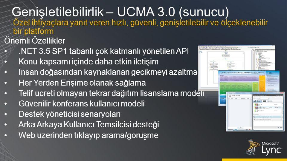 Genişletilebilirlik – UCMA 3.0 (sunucu) Önemli Özellikler.NET 3.5 SP1 tabanlı çok katmanlı yönetilen API Konu kapsamı içinde daha etkin iletişim İnsan doğasından kaynaklanan gecikmeyi azaltma Her Yerden Erişime olanak sağlama Telif ücreti olmayan tekrar dağıtım lisanslama modeli Güvenilir konferans kullanıcı modeli Destek yöneticisi senaryoları Arka Arkaya Kullanıcı Temsilcisi desteği Web üzerinden tıklayıp arama/görüşme Özel ihtiyaçlara yanıt veren hızlı, güvenli, genişletilebilir ve ölçeklenebilir bir platform