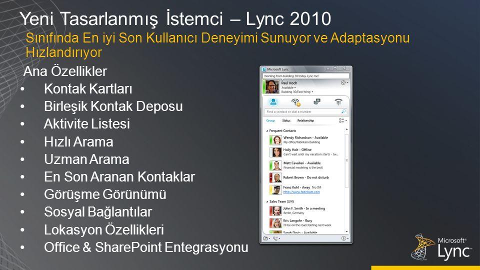 Yeni Tasarlanmış İstemci – Lync 2010 Ana Özellikler Kontak Kartları Birleşik Kontak Deposu Aktivite Listesi Hızlı Arama Uzman Arama En Son Aranan Kontaklar Görüşme Görünümü Sosyal Bağlantılar Lokasyon Özellikleri Office & SharePoint Entegrasyonu Sınıfında En iyi Son Kullanıcı Deneyimi Sunuyor ve Adaptasyonu Hızlandırıyor