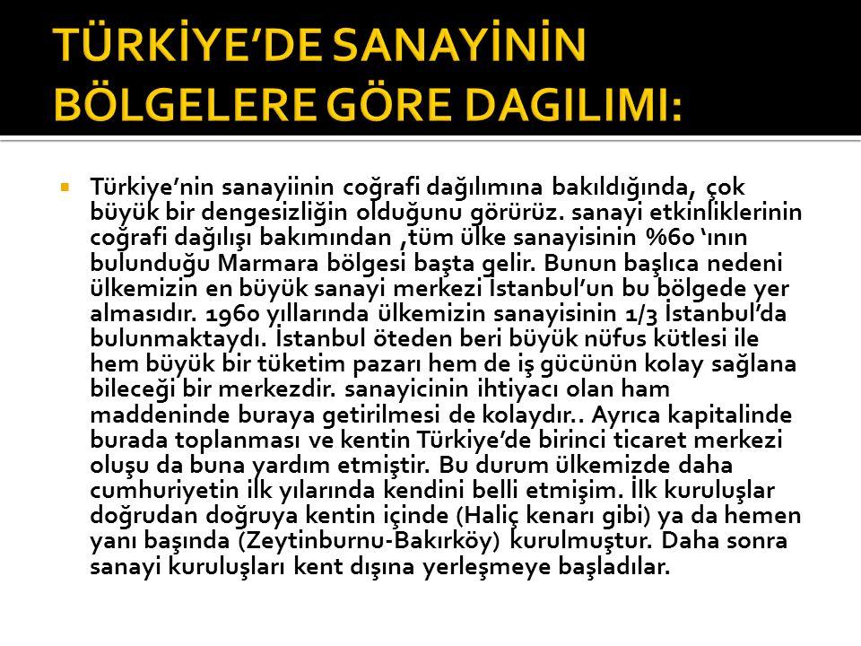  Türkiye'nin sanayiinin coğrafi dağılımına bakıldığında, çok büyük bir dengesizliğin olduğunu görürüz. sanayi etkinliklerinin coğrafi dağılışı bakımı
