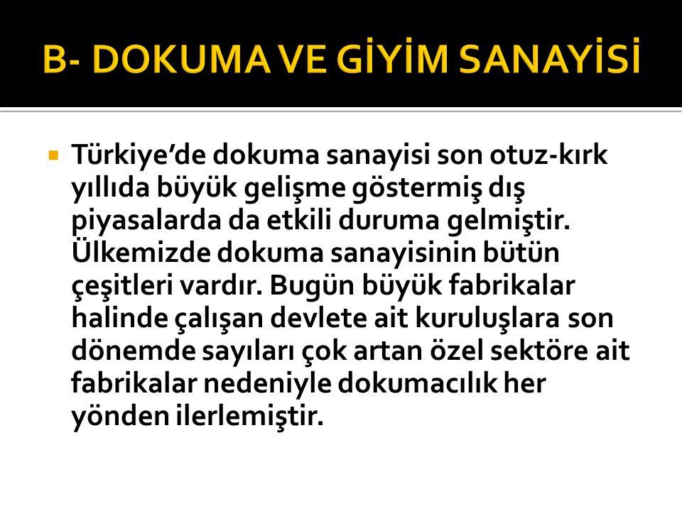  Türkiye'de dokuma sanayisi son otuz-kırk yıllıda büyük gelişme göstermiş dış piyasalarda da etkili duruma gelmiştir. Ülkemizde dokuma sanayisinin bü