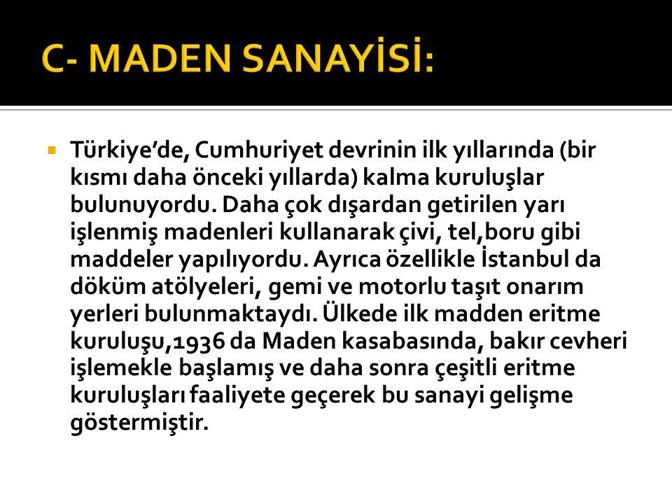  Türkiye'de, Cumhuriyet devrinin ilk yıllarında (bir kısmı daha önceki yıllarda) kalma kuruluşlar bulunuyordu. Daha çok dışardan getirilen yarı işlen