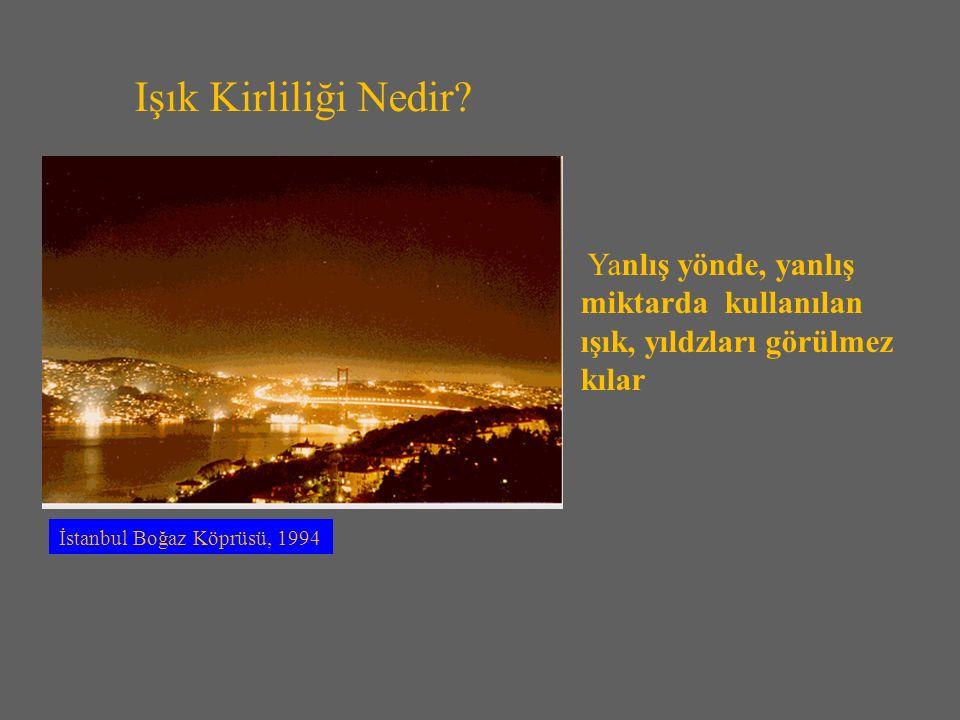 İstanbul Boğaz Köprüsü, 1994 Yanlış yönde, yanlış miktarda kullanılan ışık, yıldzları görülmez kılar Işık Kirliliği Nedir?