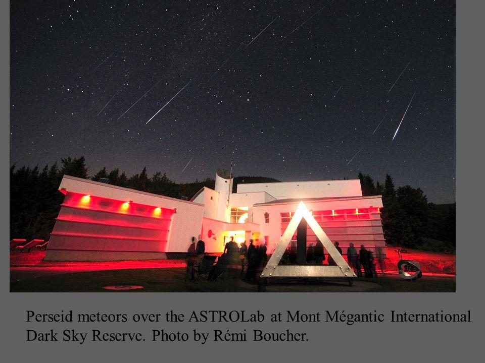 Perseid meteors over the ASTROLab at Mont Mégantic International Dark Sky Reserve. Photo by Rémi Boucher.